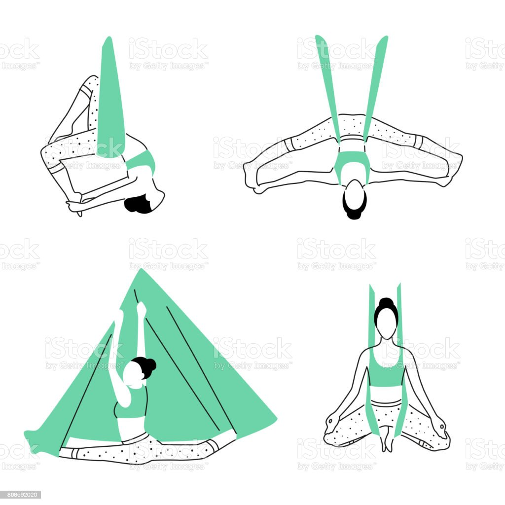 Set of aerial, fly yoga poses. Anti-gravity yoga minimalistic design. Vector illustration vector art illustration