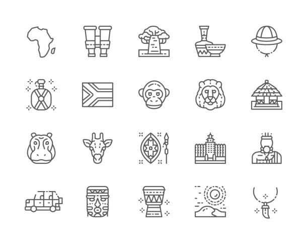 set of africa line icons. tooth pendant, binoculars, ethnic pottery, cork helmet, water flask. - jungle stock illustrations