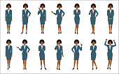 Set of african american businesswoman isolated on white background.