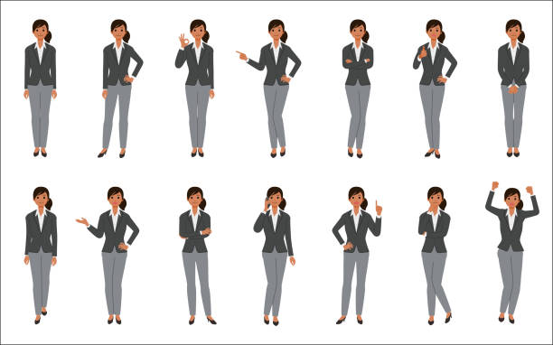 ilustrações de stock, clip art, desenhos animados e ícones de set of african american businesswoman isolated on white background - business woman