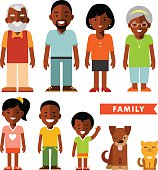 Set of african american ethnic family members in flat style