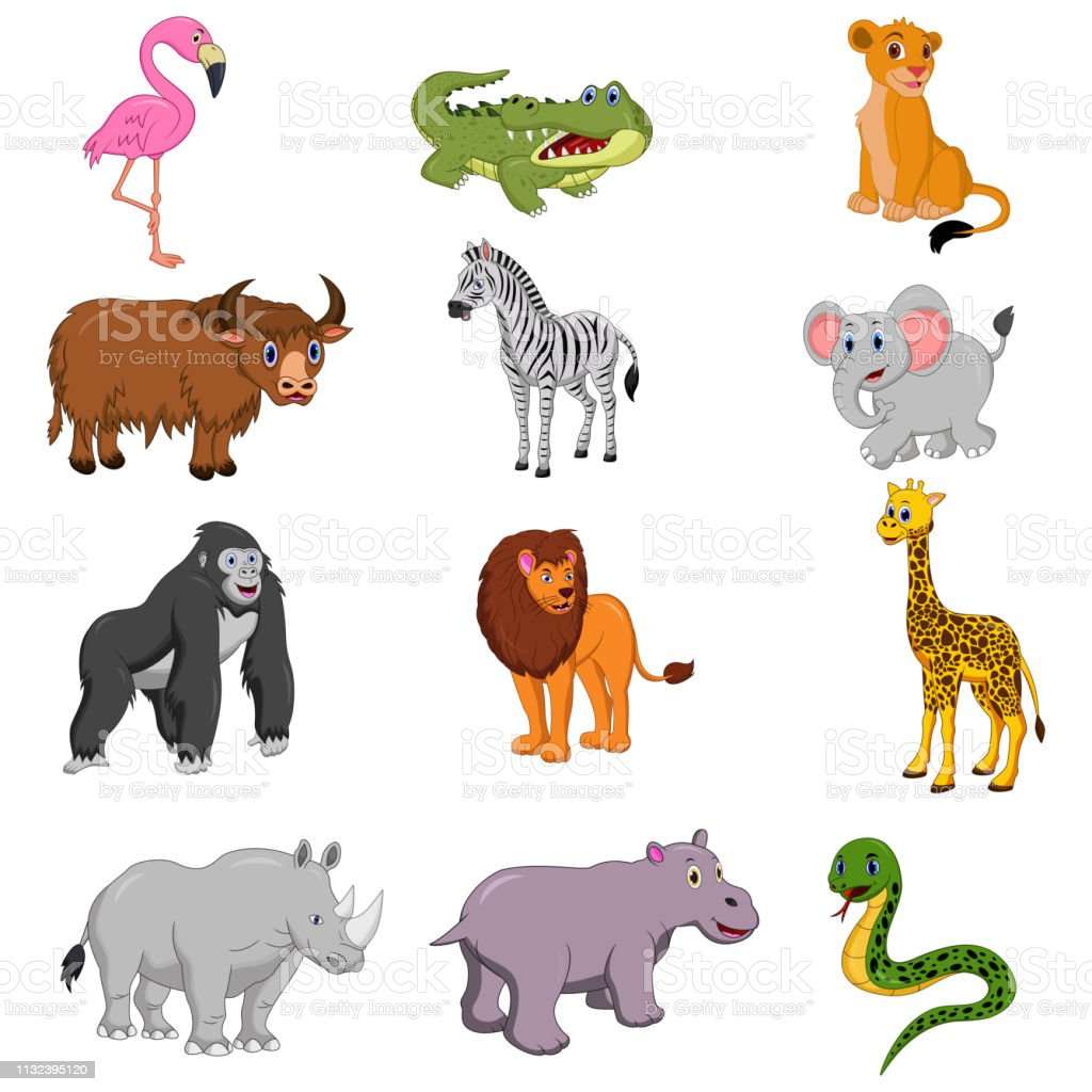 Set Of African Animals Cartoon Stock Illustration - Download Image Now -  iStock