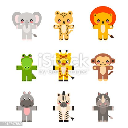 Illustration of cute little animals (a giraffe, a lion, a cheetah, a hippo, a rhino, an elephant, a crocodile, a zebra and a monkey) isolated on a white background. Vector 8 EPS.