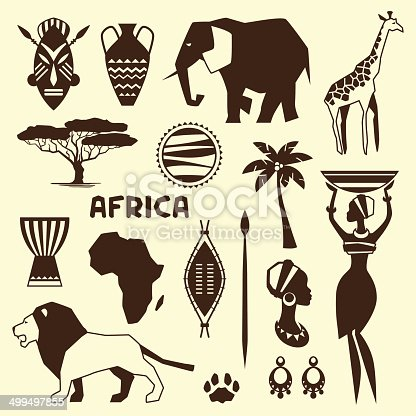 Set of african ethnic style icons in flat style.