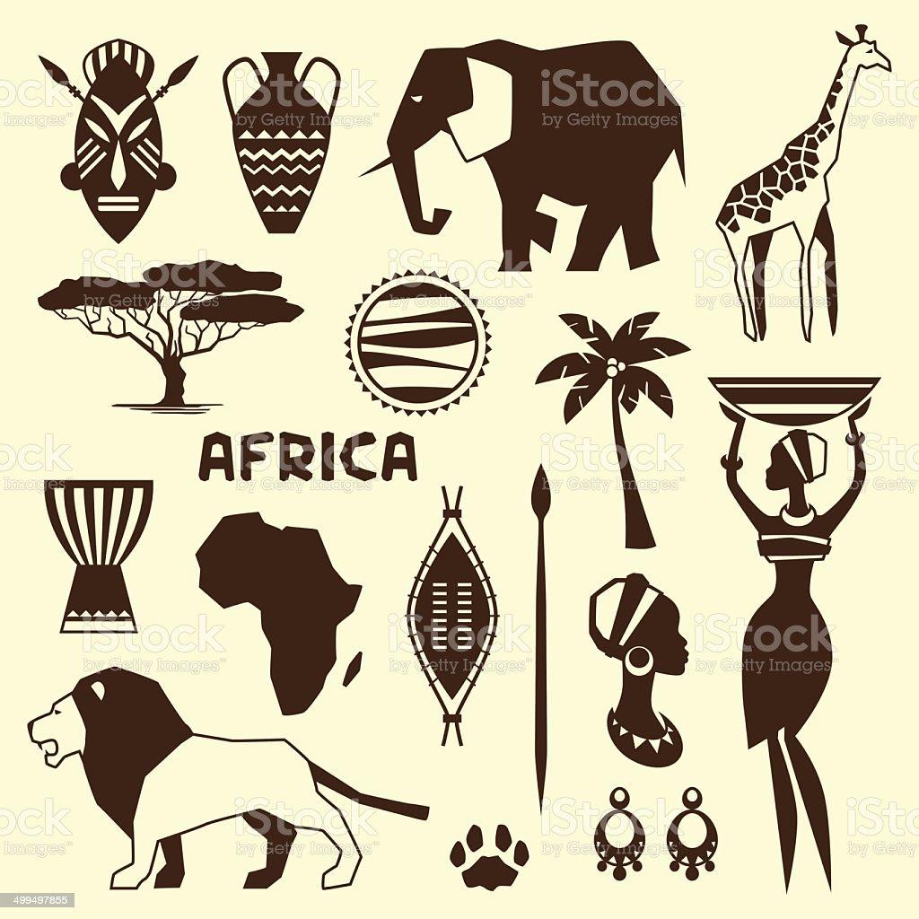 Conjunto de ícones em estilo africano étnica plana grande estilo. - ilustração de arte em vetor