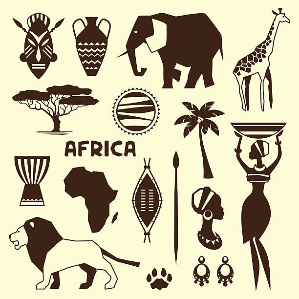 Set of african ethnic style icons in flat style. vector art illustration