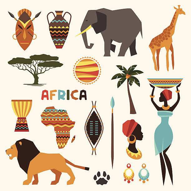 set of african ethnic style icons in flat style. - africa travel stock illustrations, clip art, cartoons, & icons