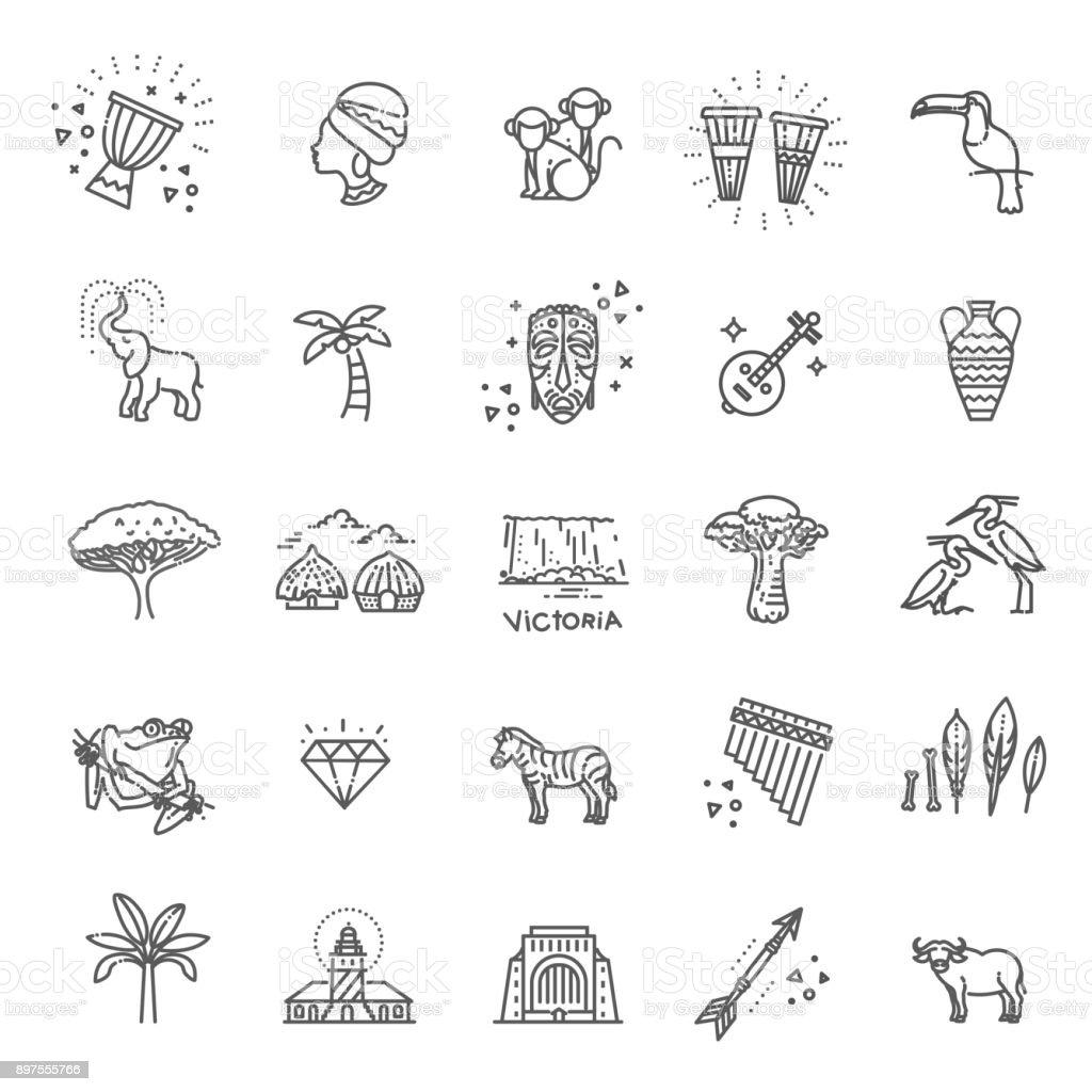 Conjunto de iconos de estilo étnico africano en estilo plano - ilustración de arte vectorial