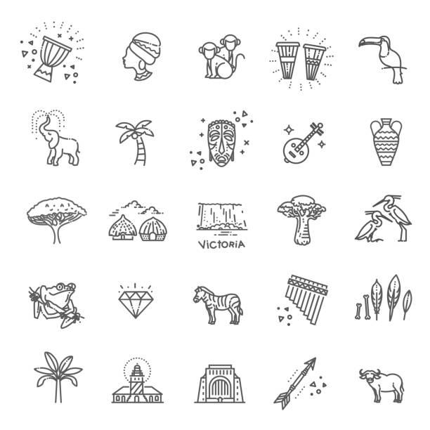 ilustraciones, imágenes clip art, dibujos animados e iconos de stock de conjunto de iconos de estilo étnico africano en estilo plano - viaje a áfrica