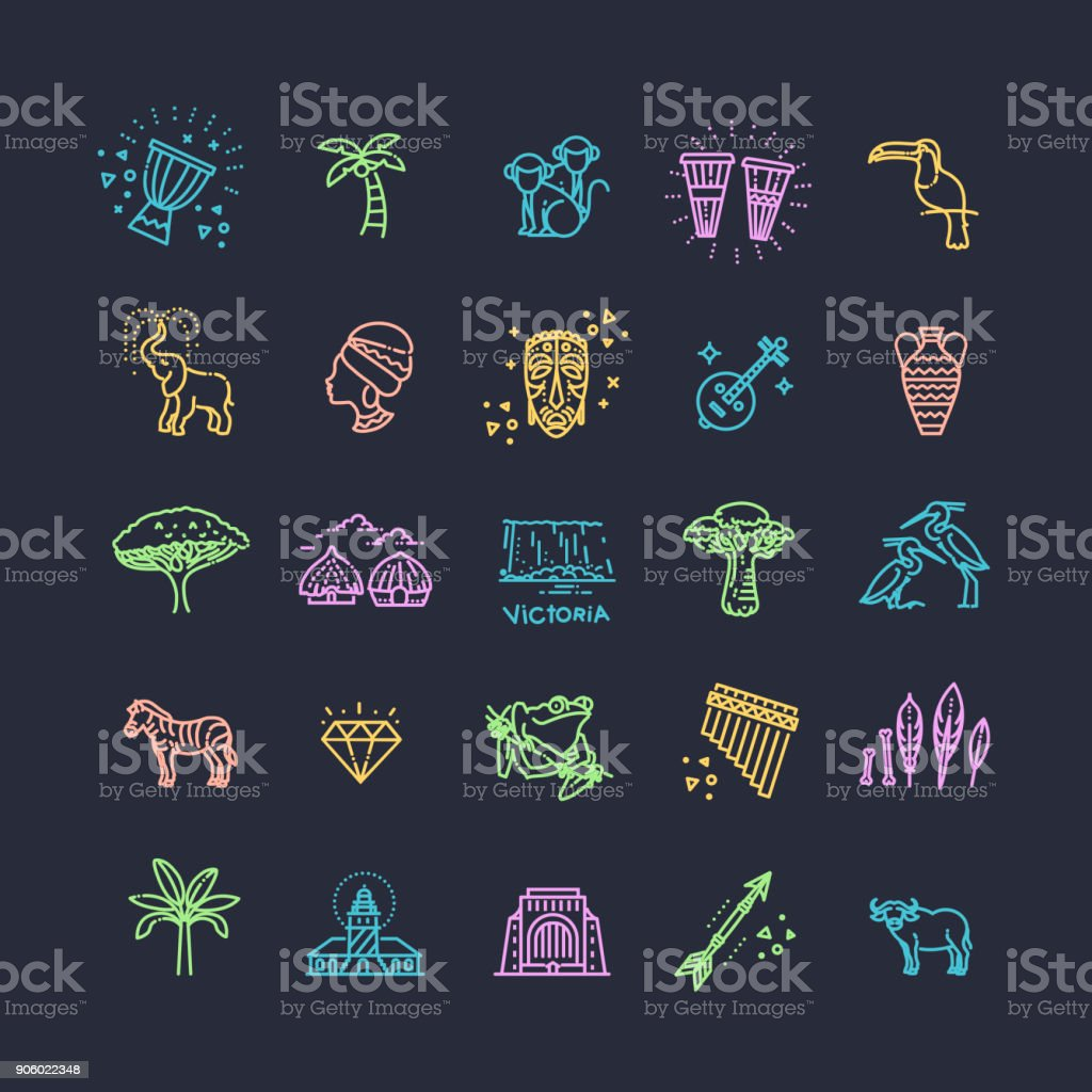 Set of african ethnic style icons in flat style vector art illustration