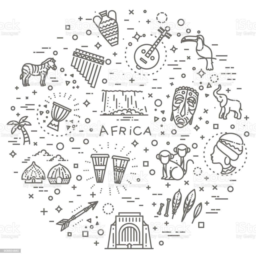 Satz von afrikanischen ethnischen Stil-Ikonen im flachen Stil – Vektorgrafik
