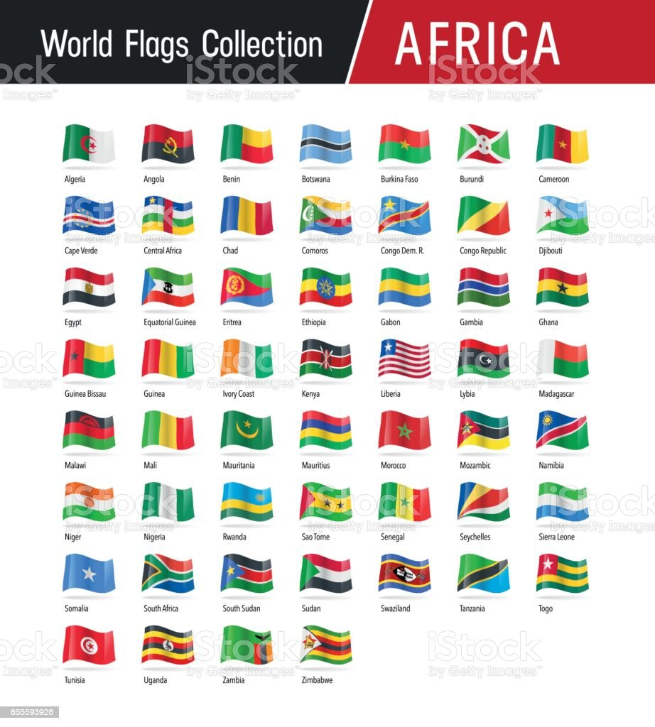 Set of African flags - Vector illustrations vector art illustration