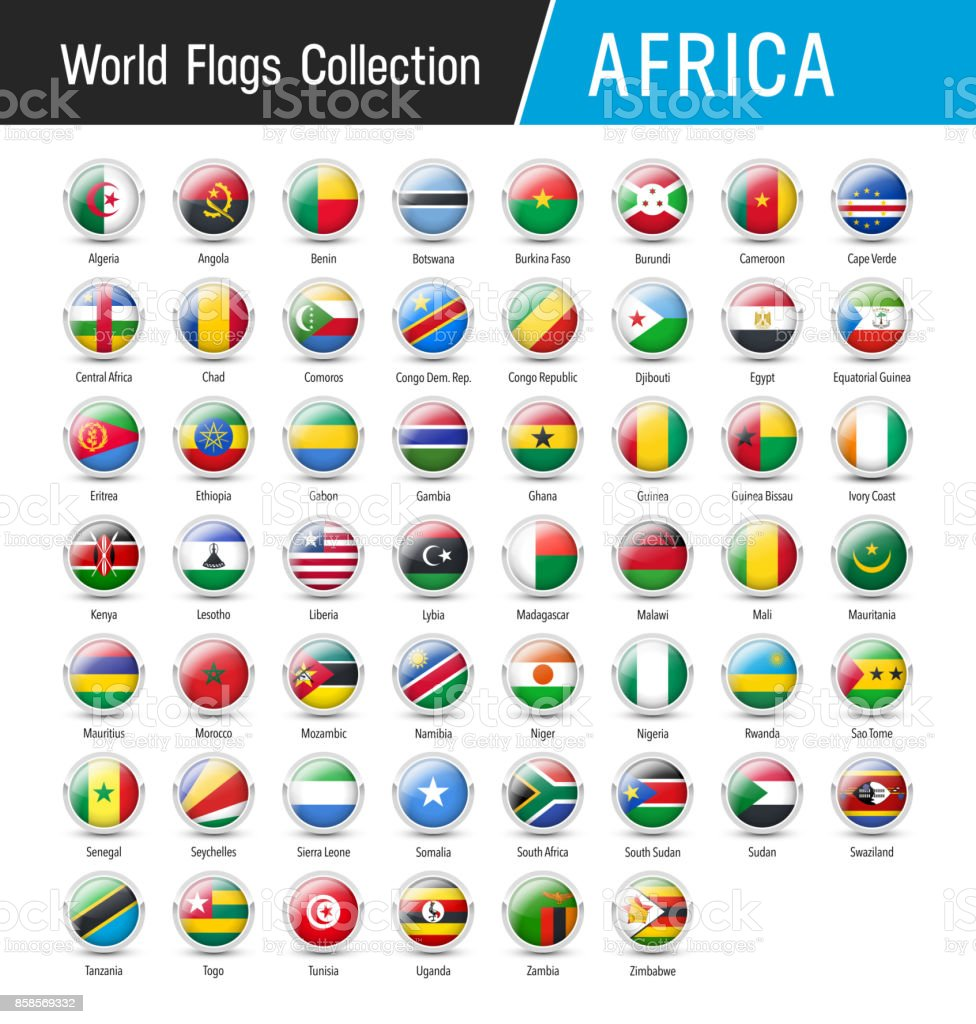 Set of African flags - Vector round icons vector art illustration