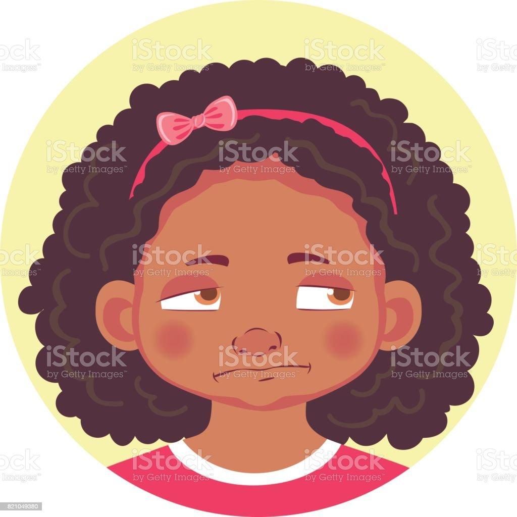 set of african girls emotions vector art illustration