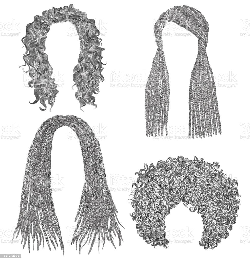 set of african  hairs  . black  pencil drawing sketch .dreadlocks cornrows vector art illustration