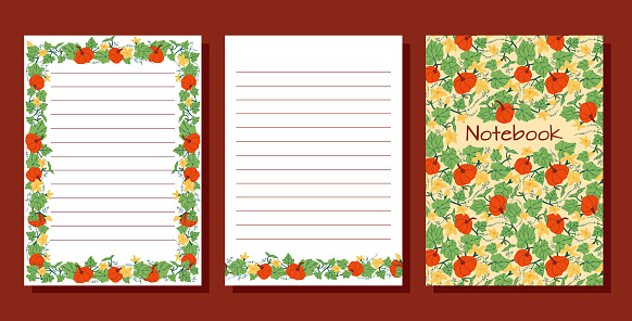 Set of agenda blank lists for daily planning with pumpkins, flowers and leaves  illustrations.