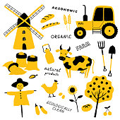 Set of agricultural and farm tools, animals, plants and machinery. Cartoon cow, chicken, tractor, scarecrow, mill, wheat. Organic food. Funny doodle hand drawn vector illustration. Isolated on white.