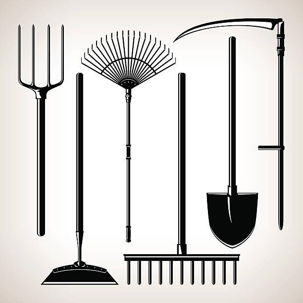 Set of Agricultural Tools Set of Agricultural Tools, Isolated on a Light Background, Silhouette Garden Equipment , Black and White  Vector Illustration garden hoe stock illustrations