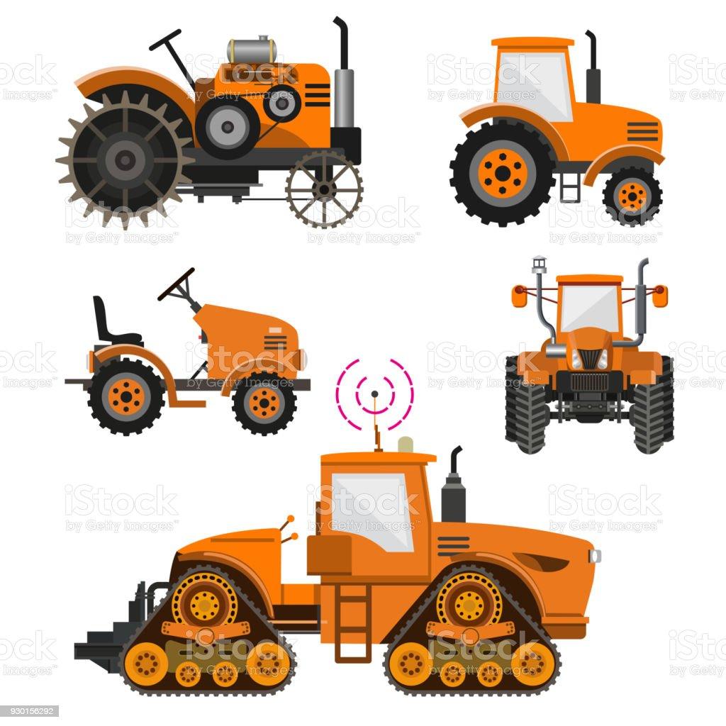 Set of agricultural tractors. vector art illustration