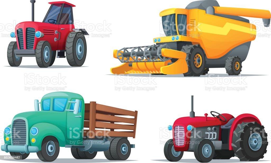 Satz Von Landwirtschaftlichen Verkehr Lkw Landmaschinen Traktoren ...