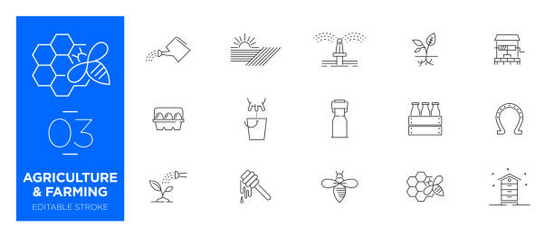 Set of Agriculture and Farming line icons - Modern icons Set of Agriculture and Farming line icons - Modern icons beekeeper stock illustrations