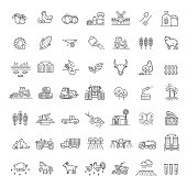 vector line icons. Agriculture and Farming icons
