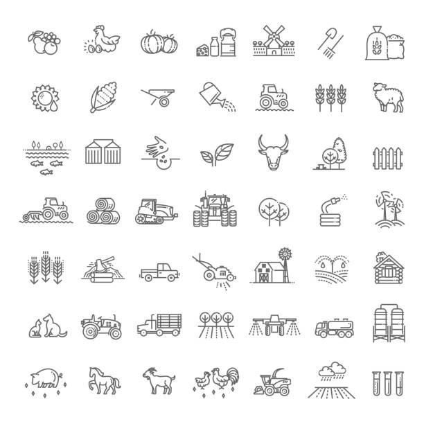 농업 및 농업 라인 아이콘 집합 - 농업 stock illustrations