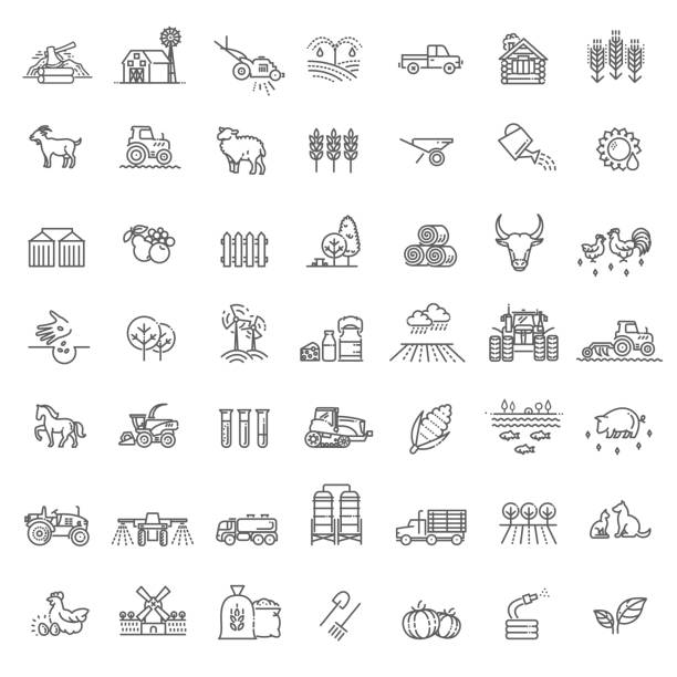 Set of Agriculture and Farming Line Icons Farming and agriculture life concept. Harvester trucks, tractors, farmers and village farm buildings agricultural cooperative stock illustrations