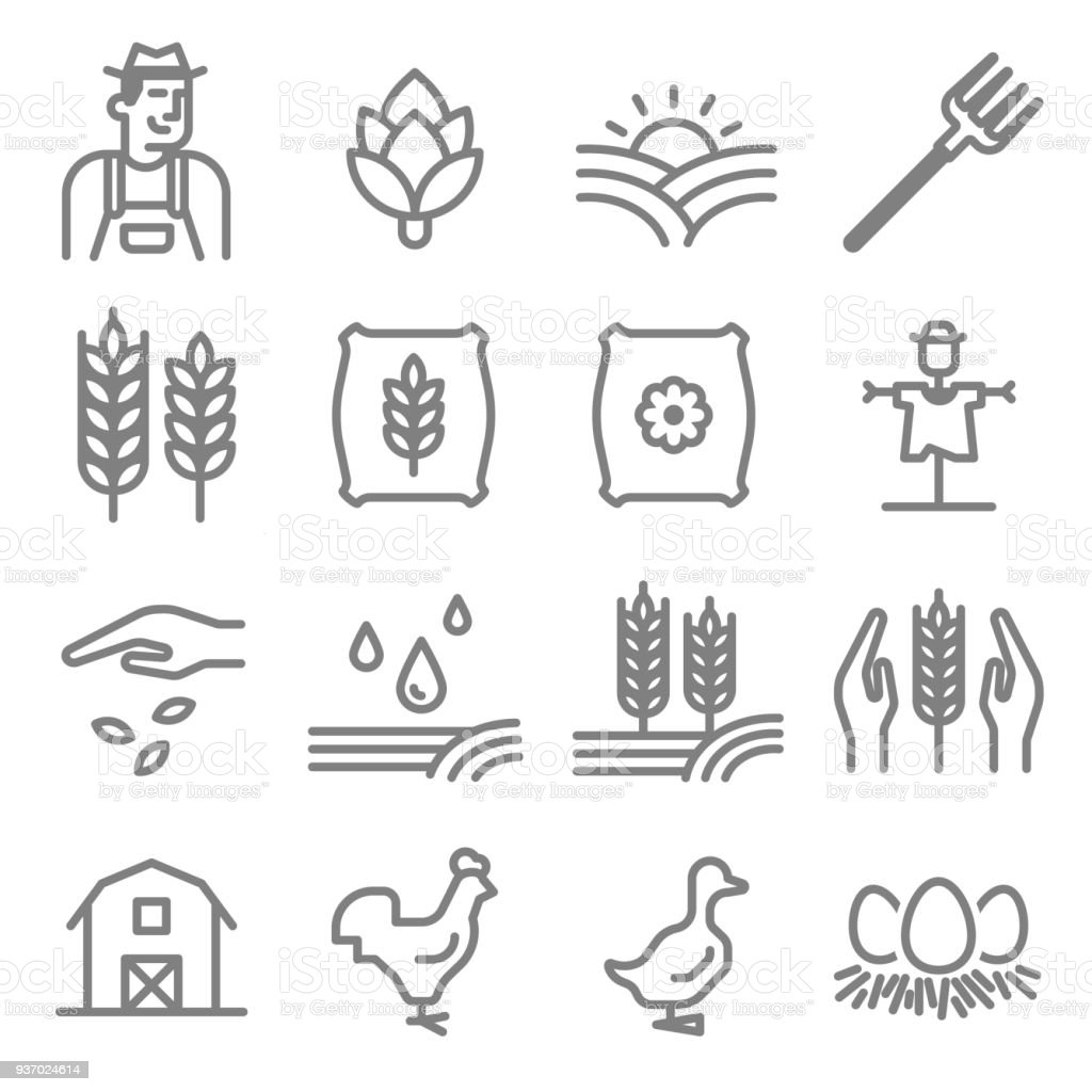 Set of Agriculture and Farming Line Icons