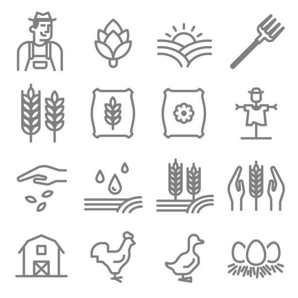 ilustrações, clipart, desenhos animados e ícones de conjunto de agricultura e criação de ícones de linha - animais da fazenda