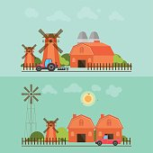 Set of agriculture farmhouse with wind mill.