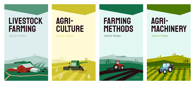 Set of agriculture vector backgrounds