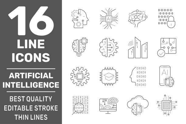 Set of AI, IoT and machine learning line icons. Simple pictograms pack. Modern icons collection in outline style. Vector illustration on a white background. EPS 10 vector art illustration