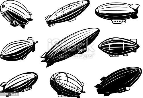 Set of air balloons, zeppelin. Design element for poster, card, emblem, sign, banner. Vector image