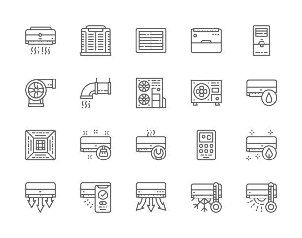 Set of Air Conditioning Line Icons. Exhaust Ventilation,   Multi-split System, Humidifier, Smart Climate Assistant and more. Set of Air Conditioning Line Icons. Exhaust Ventilation, Portable Air Conditioner, Cooler, Multi-split System, Remote Control, Humidifier, Smart Climate Assistant and more. air duct stock illustrations