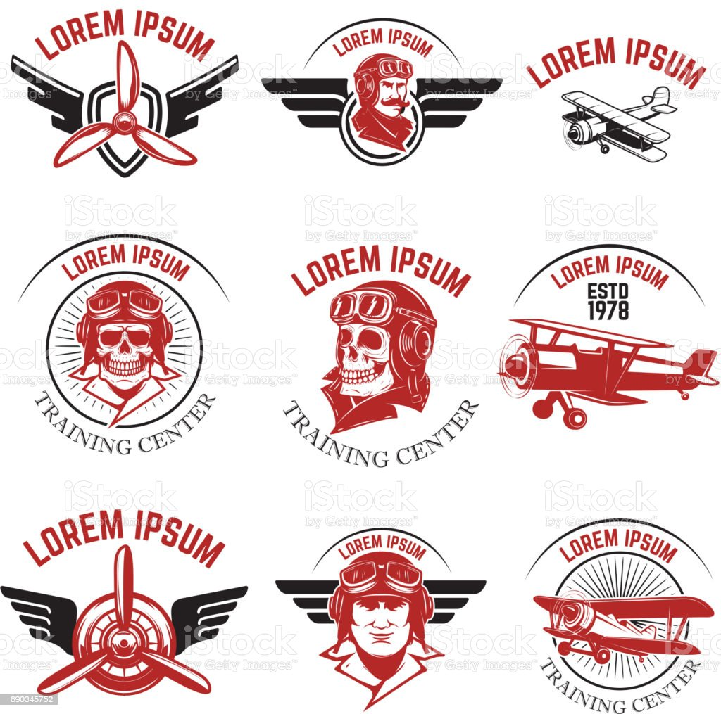 Set of air force, airplane show, flying academy emblems. Vintage planes. Design elements for badge, label. Vector illustration. vector art illustration