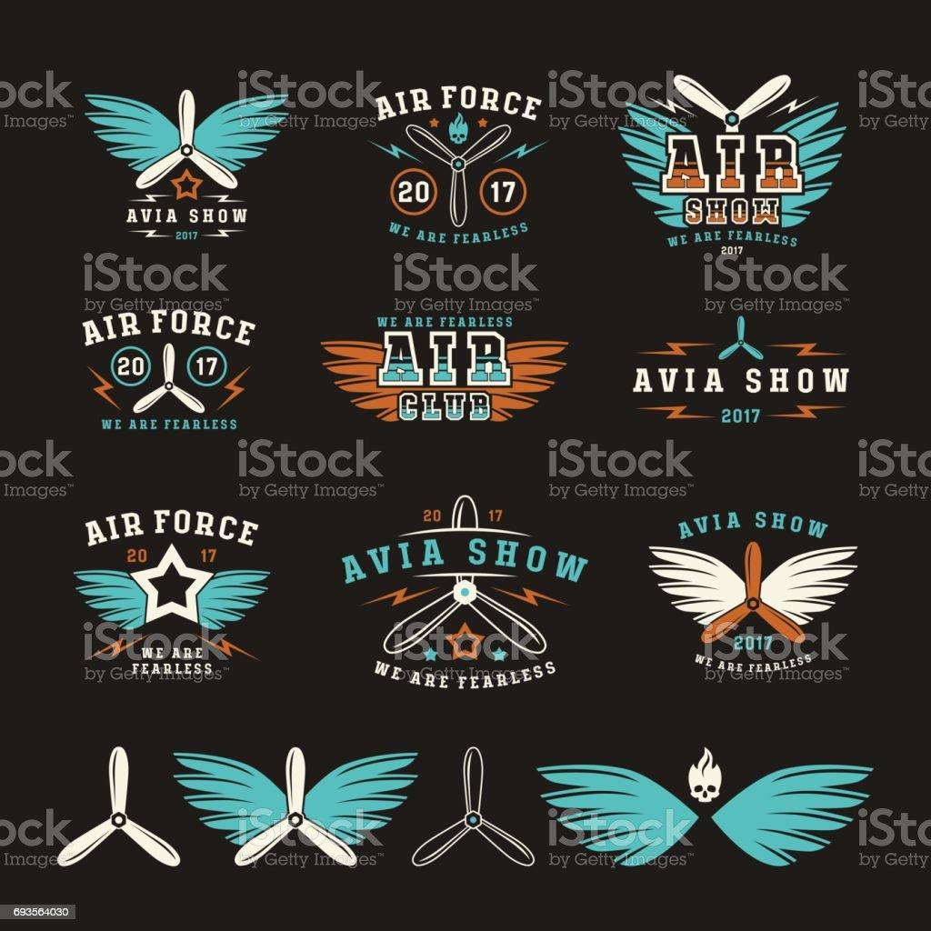 Set of air force and air show emblem vector art illustration
