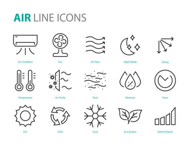 ilustrações, clipart, desenhos animados e ícones de jogo de ícones do ar, condição do ar, calefator, poeira, temperatura, purificar - escorrer