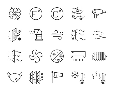 set of air icons, such as air filter, temperature, air purifier, dust