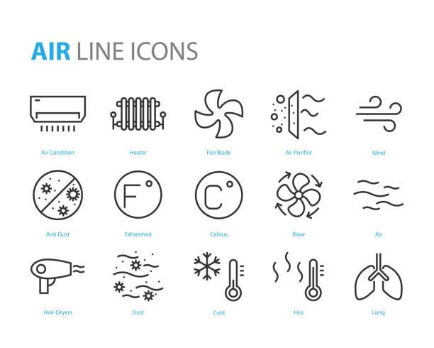 stockillustraties, clipart, cartoons en iconen met set van lucht iconen, zoals luchtfilter, temperatuur, luchtreiniger, stof - airconditioning