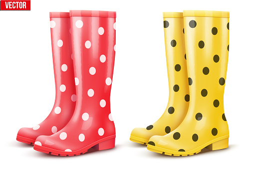 Set of air of rain boots