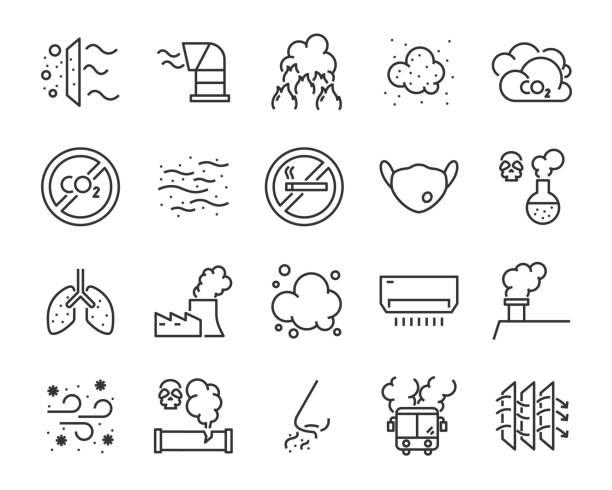 ilustraciones, imágenes clip art, dibujos animados e iconos de stock de sistema de los iconos de la contaminación atmosférica, por ejemplo, humo, polvo, gas, industria, p.m. 2,5 - contaminación ambiental