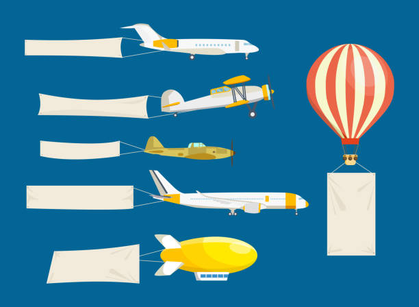 Set of air vehicles concept with white banners vector art illustration