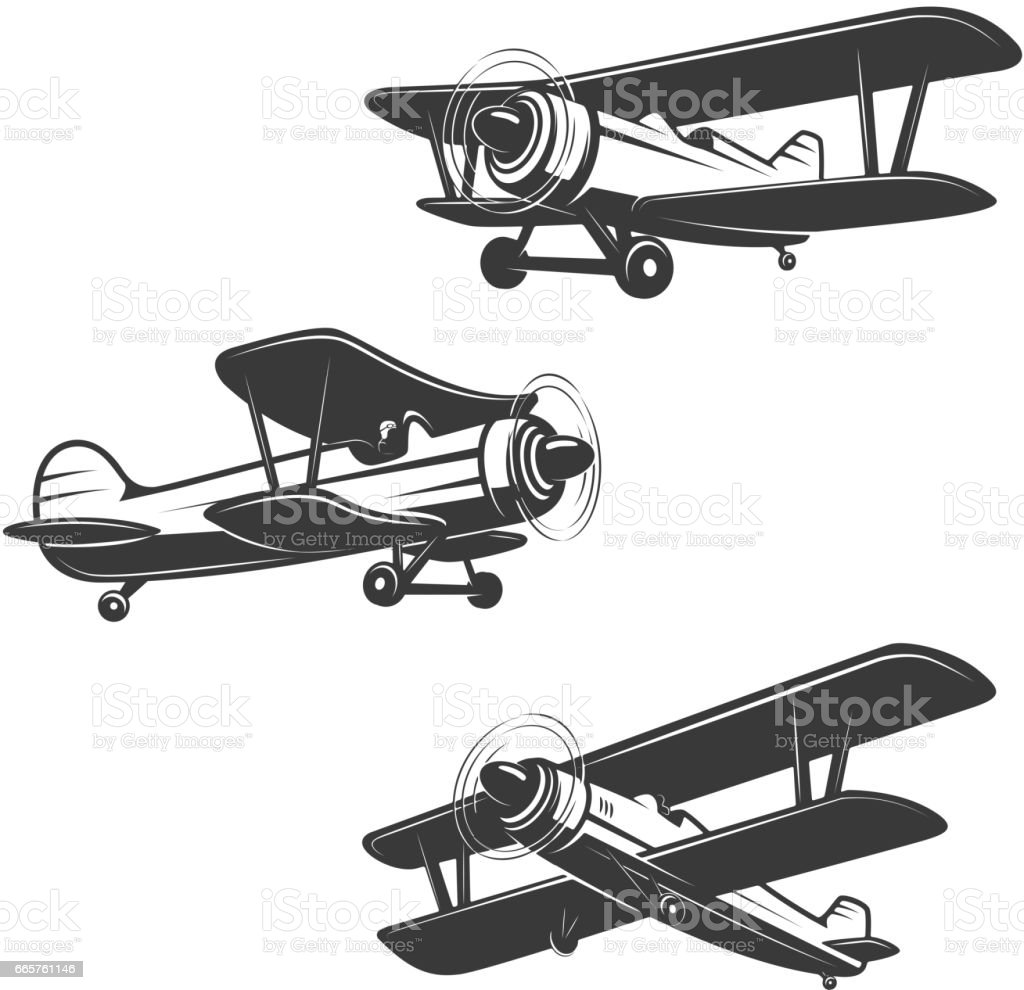 Set of airplane icons isolated on white background. vector art illustration