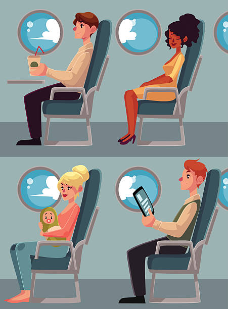 set of airplane passengers seating in economy class, vector illustration - airplane seat 幅插畫檔、美工圖案、卡通及圖標