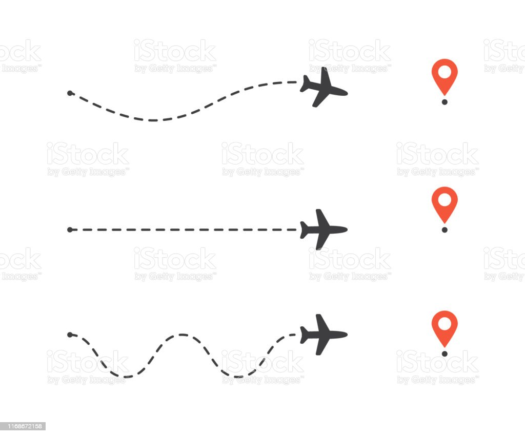 Vector illustration flat design of airplane path to location pin set....