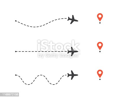 Vector illustration flat design of airplane path to location pin set. Plane route lines. Tourism and travel vector illustration.