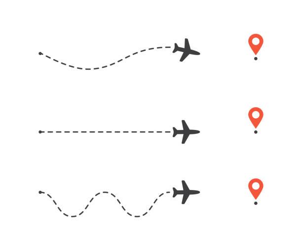 ilustraciones, imágenes clip art, dibujos animados e iconos de stock de conjunto de ruta de avión al pin de ubicación. líneas de ruta de plano. ilustración de vectores turísticos y de viaje. - avión
