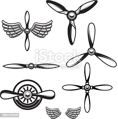 Set of airplane propellers. Design element for  emblem, sign. Vector illustration