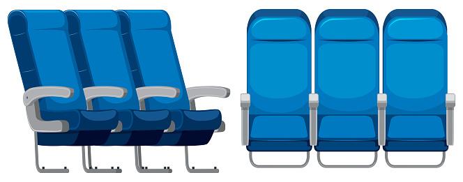 Set Of Airplane Seat — стоковая векторная графика и другие изображения на тему Авиакосмическая промышленность